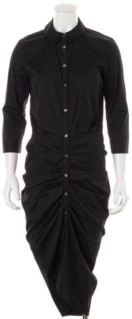 VERONICA BEARD Black Ruched Button Down Shirt Dress