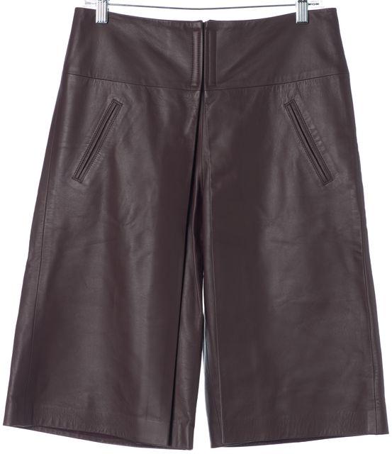 VERONICA BEARD Bordeaux Purple Leather Pleated Gaucho Shorts