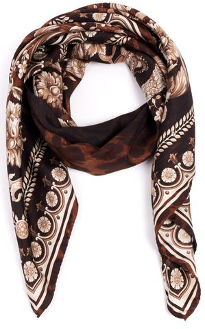 VERSACE Brown 100% Silk F/W 13 Leopard Print Square Scarf