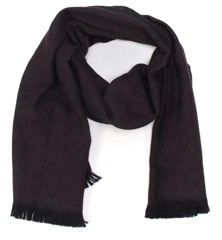 VERSACE Purple Black Wool Long Fringe Scarf