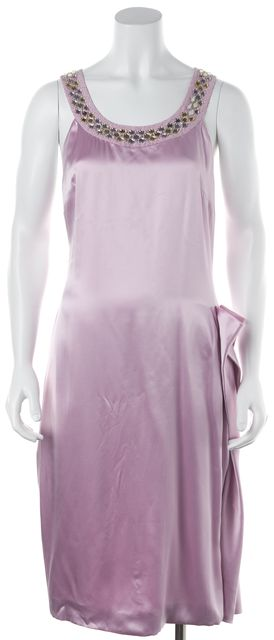 VERSACE Purple Embellished Halter Neck Silk Sheath Dress