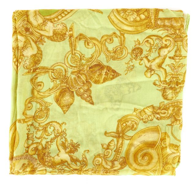 VERSACE Apple Green Yellow Butterfly Donna Shawl Scarf