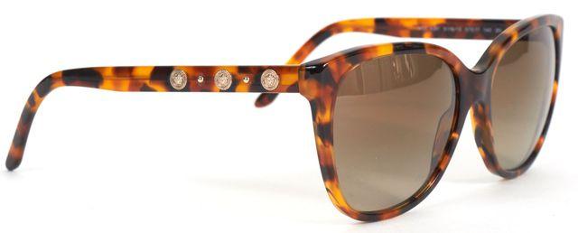 VERSACE Brown Tortoiseshell Acetate Gradient Lens Square Sunglasses