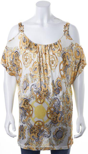VERSACE Gold White Floral Brocade Jersey Cold Shoulder Blouse Top