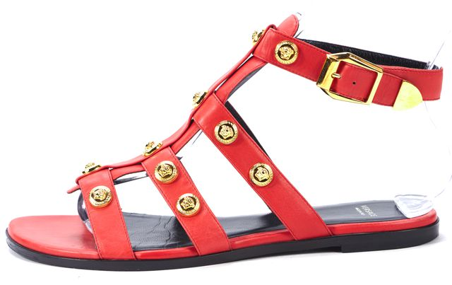 VERSACE Red Gold Studded Leather Flat Gladiator Sandals