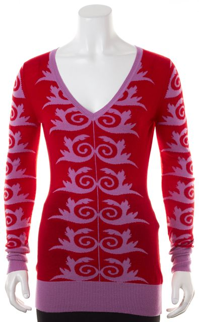 VERSACE Red Purple Abstract Swirl Knit V-Neck Sweater