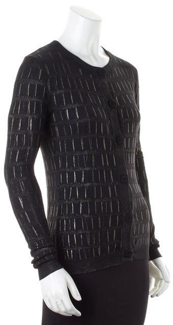 VERSACE Black Metallic Silver Painted Wool Cardigan