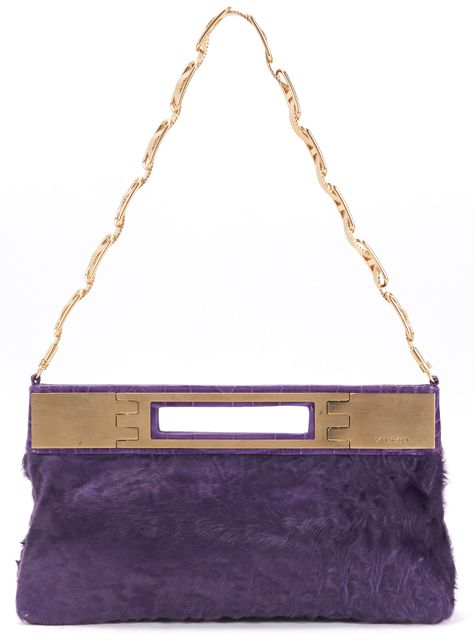 VERSACE Purple Fur Embossed Leather Trim Chain Clutch Shoulder Bag