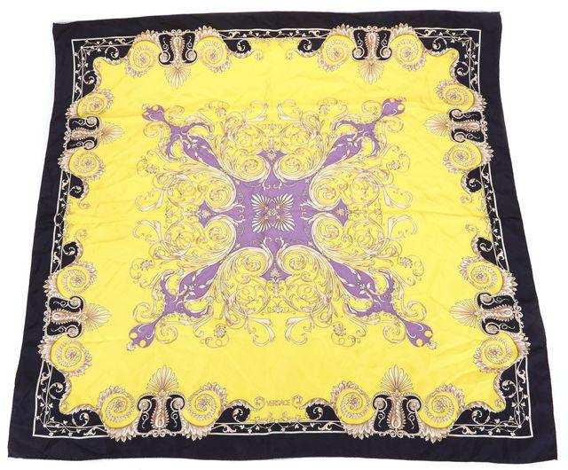 VERSACE Yellow Black Beige Purple Brocade Printed Large Square Silk Scarf