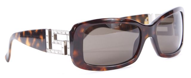 VERSACE Brown Tortoise Shell Rectangular Sunglasses