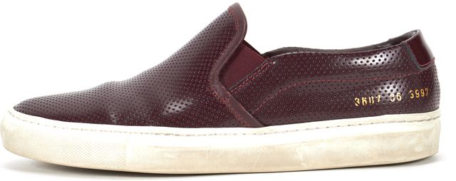 WOMAN BY COMMON PROJECTS Plum Purple Perforated Leather Slip On Sneakers