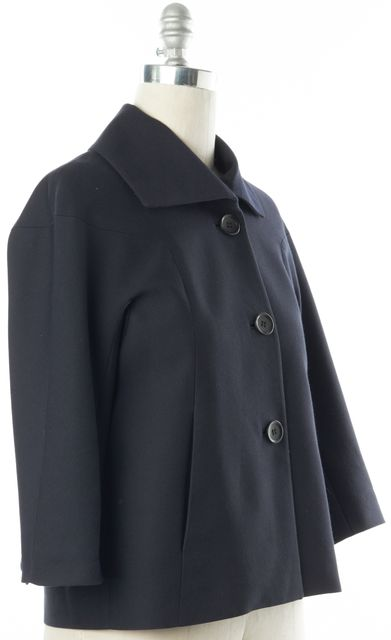 WHISTLES Navy Blue Wool Cotton Basic Buttoned Jacket