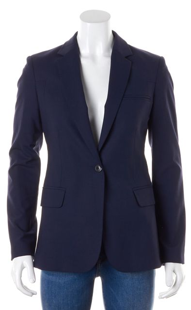 WHISTLES Navy Blue Wool Pocket Front Single Button Blazer