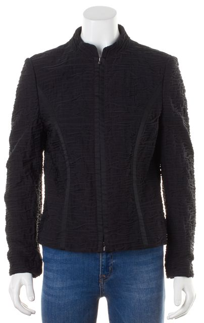 WOLFORD Black Textured Collarless Zip Up Jacket