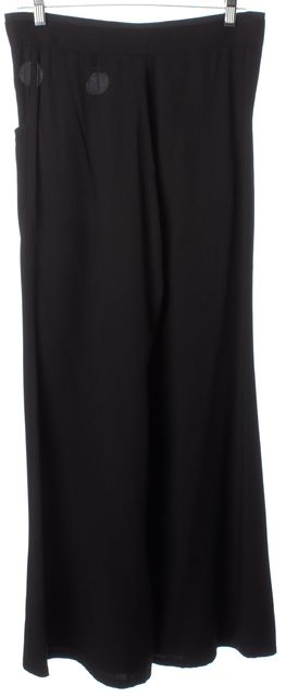 YOHJI YAMAMOTO Black Grosgrain Waist Tie Grommet Trim Dress Pants