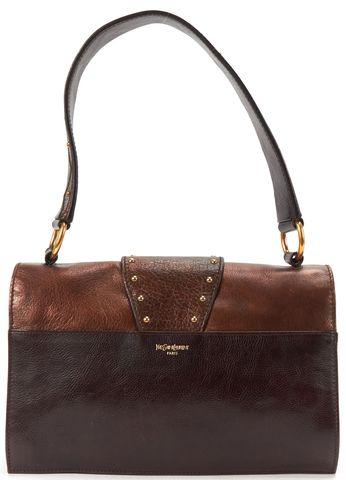YVES SAINT LAURENT Brown Metallic Leather Jeweled Sac Byzance Shoulder Bag