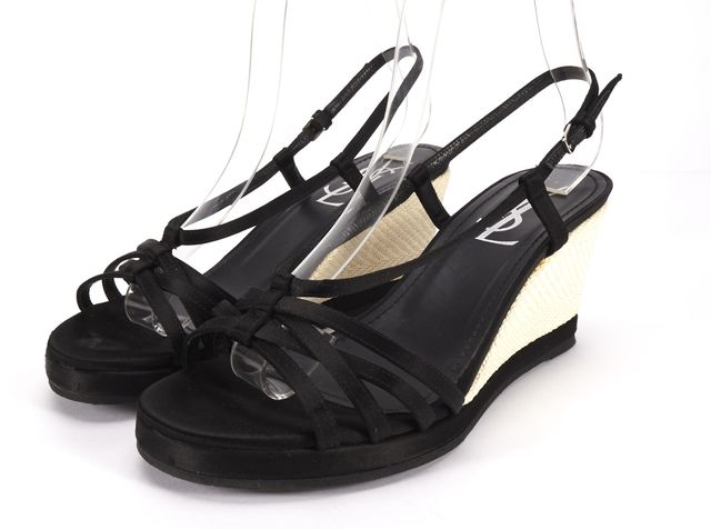 YVES SAINT LAURENT Black Satin Slingback Open-toe Wedges