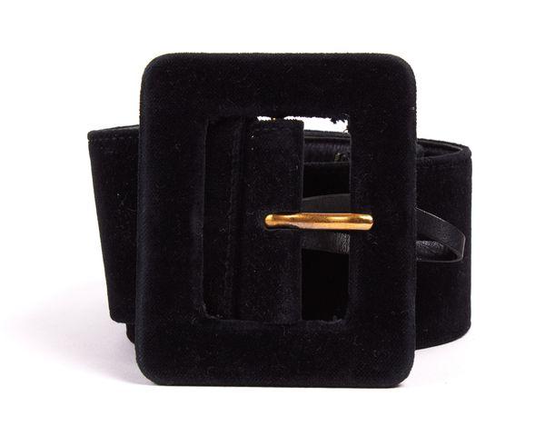 YVES SAINT LAURENT Black Velvet Gold Buckle Wide Belt Size S