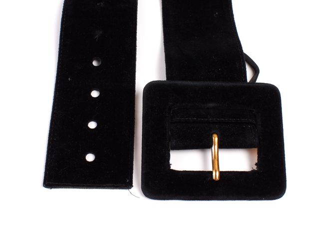 YVES SAINT LAURENT Black Velvet Gold Buckle Wide Belt