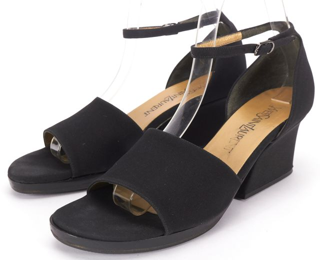 YVES SAINT LAURENT Black Nylon Block Heel Sandal