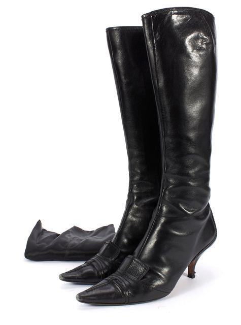 YVES SAINT LAURENT Black Leather Pointed Toe Kitten Heel Tall Boots