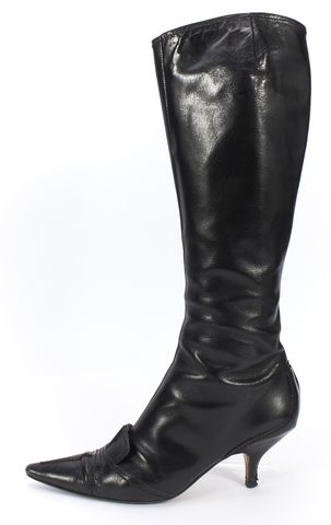 YVES SAINT LAURENT Black Leather Pointed Toe Kitten Heel Tall Boots