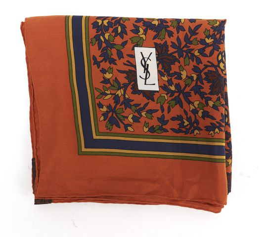YVES SAINT LAURENT Orange Blue Multi Floral Silk Scarf