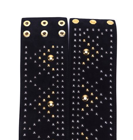 YVES SAINT LAURENT Black Suede Mix Metal Studs Embellished Belt Sized S