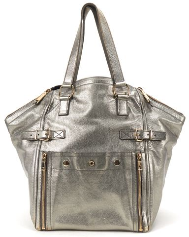 YVES SAINT LAURENT Auth Silver Metallic Leather Medium Downtown Tote Bag