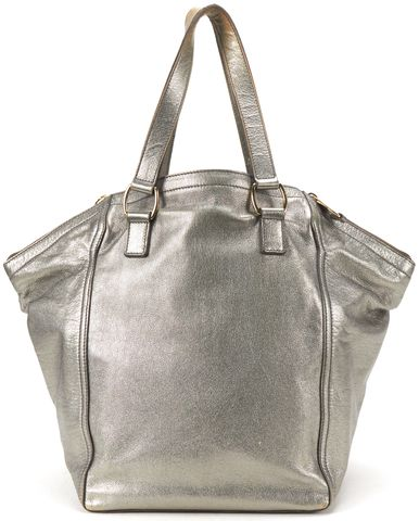 YVES SAINT LAURENT Silver Metallic Leather Medium Downtown Tote Bag