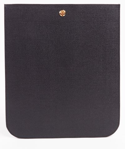 YVES SAINT LAURENT Auth Black Textured Leather iPad Tablet Case w Box