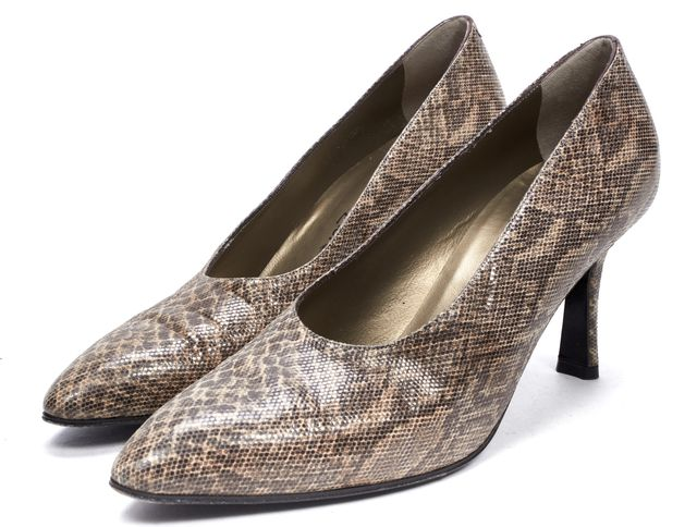 YVES SAINT LAURENT Brown Multi Snake Printed Leather Heels Pumps
