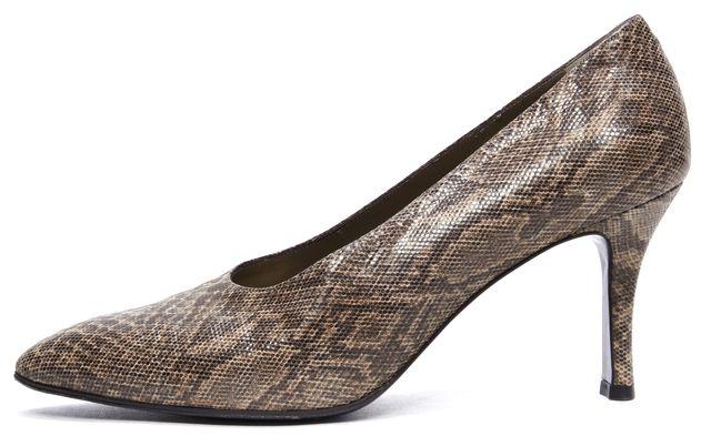 YVES SAINT LAURENT Brown Multi Snake Printed Leather Heels Pumps