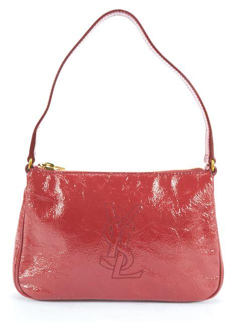 YVES SAINT LAURENT Burgundy Texture Patent Leather Mini Shoulder Bag