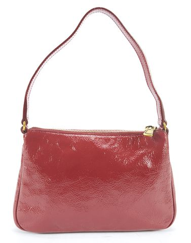 YVES SAINT LAURENT Burgundy Texture Patent Leather Mini Shoulder Bag