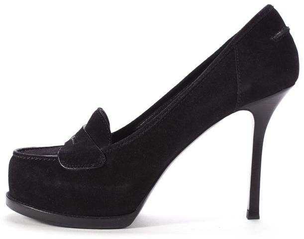 YVES SAINT LAURENT Black Suede Platform Tribtoo Loafer Heels