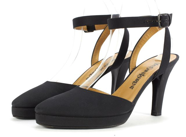 YVES SAINT LAURENT Black Nylon Ankle Strap Pumps