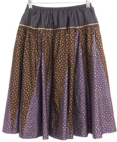 YVES SAINT LAURENT Purple Gray Semi Polka Dot Wrap Skirt