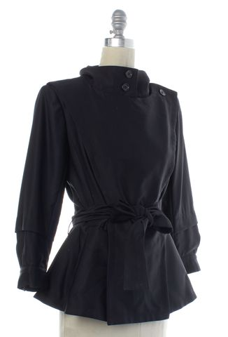 YVES SAINT LAURENT Black Abstract Belted Basic Jacket Size M