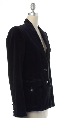 YVES SAINT LAURENT Black Velvet Leather Button Blazer Jacket
