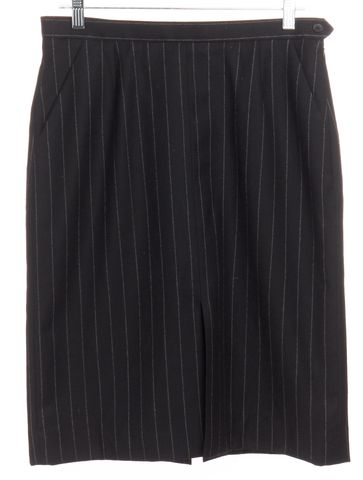 YVES SAINT LAURENT Black Pinstriped Wool Straight Skirt