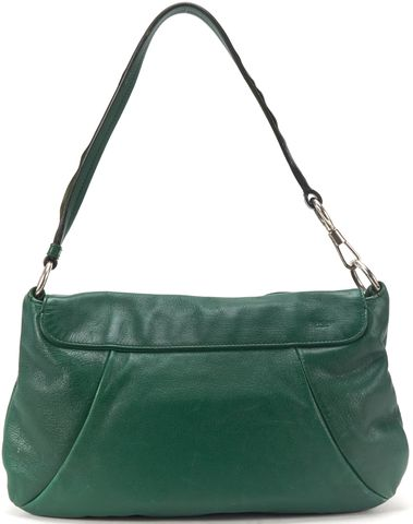 YVES SAINT LAURENT Green Leather Nadja Rosette Shoulder Bag