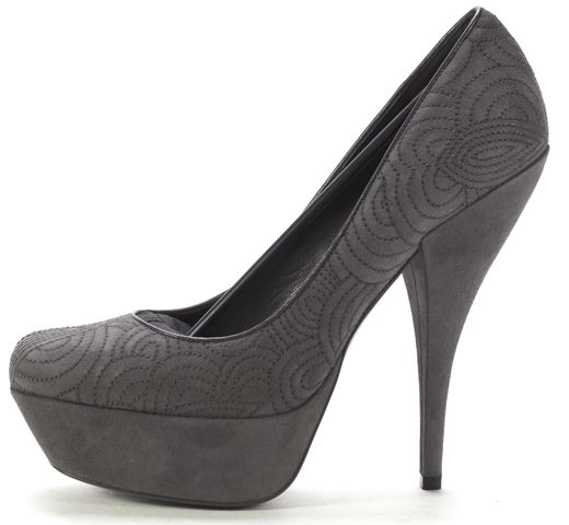 YVES SAINT LAURENT Gray Suede Leather Embroidered Platform Pumps