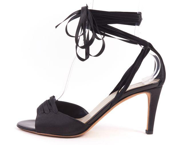 YVES SAINT LAURENT Black Satin Open-toe D'orsay Ankle Strap Fringe Heels