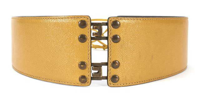 YVES SAINT LAURENT Mustard Yellow Leather Pebbled Lace Belt