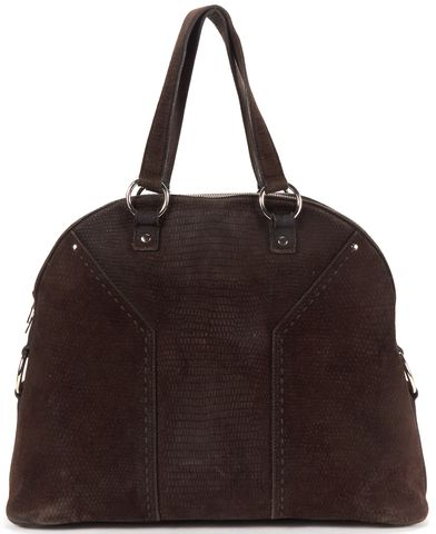 YVES SAINT LAURENT Brown Textured Suede Muse Tote Bag