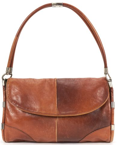 YVES SAINT LAURENT Brown Patchwork Leather Shoulder Bag