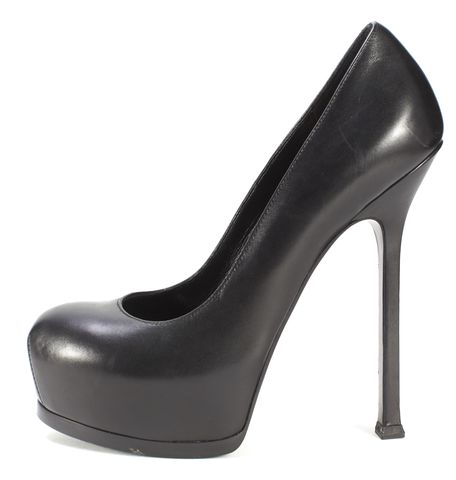 YVES SAINT LAURENT Black Leather Platform Pumps