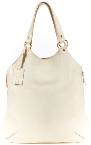 YVES SAINT LAURENT Ivory Tribute Sac Metropolitan Satchel Bag