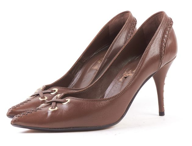 YVES SAINT LAURENT Brown Leather Pointed Toe Exposed Stitch Studded Pumps